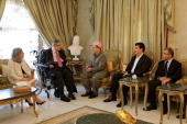 Iraqi Kurdistan Regional Government President Massoud Barzani visits Iraqi President Jalal Talabani when Talabani has returned to Iraq after...