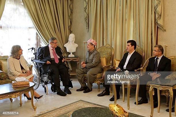 Iraqi Kurdistan Regional Government President Massoud Barzani visits Iraqi President Jalal Talabani when Talabani has returned to Iraq after...