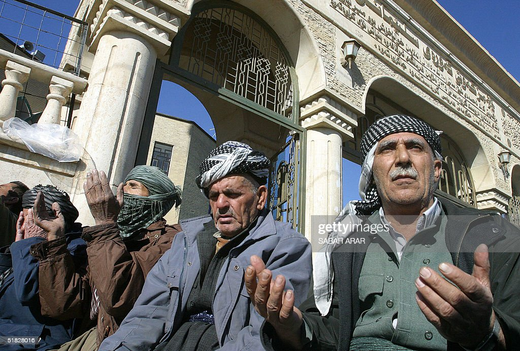 Iraqi Kurds pray at a mosque in the Iraqi Kurdistan city of Sulaimaniyah 350 kms northeast of Baghdad 05 December 2004 The Kurdistan Democratic Party...