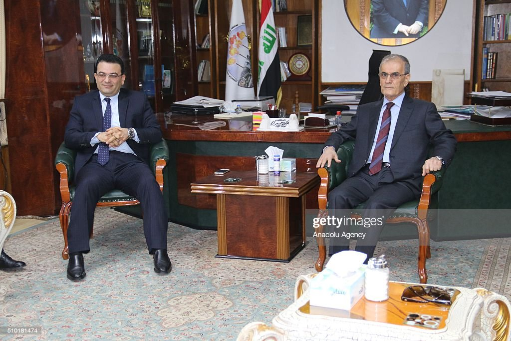 Iraqi minister for Immigration and Immigrants Derbaz Mohammed (L) meets with Governor of Kirkuk Najmaldin Karim (R) during his official visit to Kirkuk, Iraq on February 14, 2016.