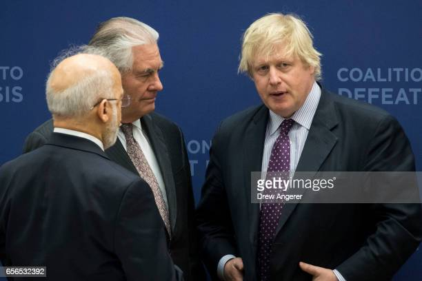 Iraqi Minister of Foreign Affairs Ibrahim alJaafari US Secretary of State Rex Tillerson and British Foreign Secretary Boris Johnson speak with each...