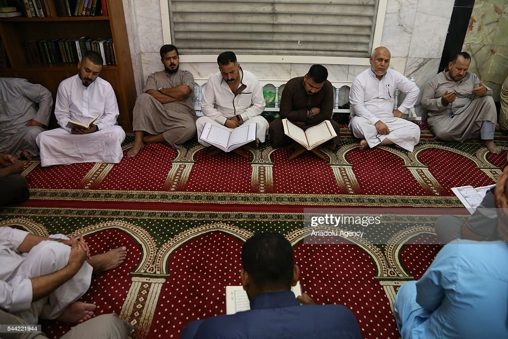 Iraqi Muslims perform prayer on the Laylat al-Qadr , the night when the first verses of the Quran were revealed, at Sheikh Abdulkader Geylani Mosque in Baghdad, Iraq on July 2, 2016.