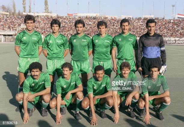 Iraqi national soccer team which will attend the World Cup Soccer finals in Mexico in June 1986 poses for the photographer 15 November 1985 in...