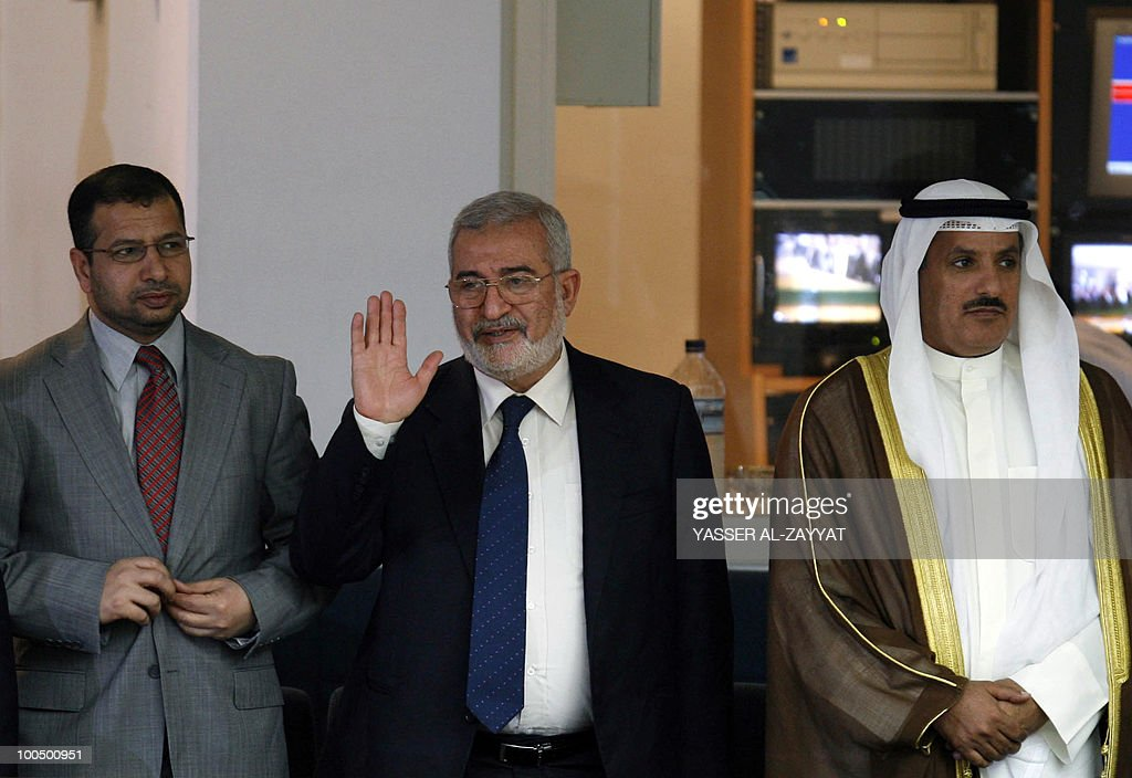 Iraqi Parliament Speaker Iyad al-Samarrai (C) and unidentified members of his accompanying delegation attend a parliament session at Kuwait's national assembly in Kuwait City on May 25, 2010. Samarrai is on a four-day official visit to Kuwait.