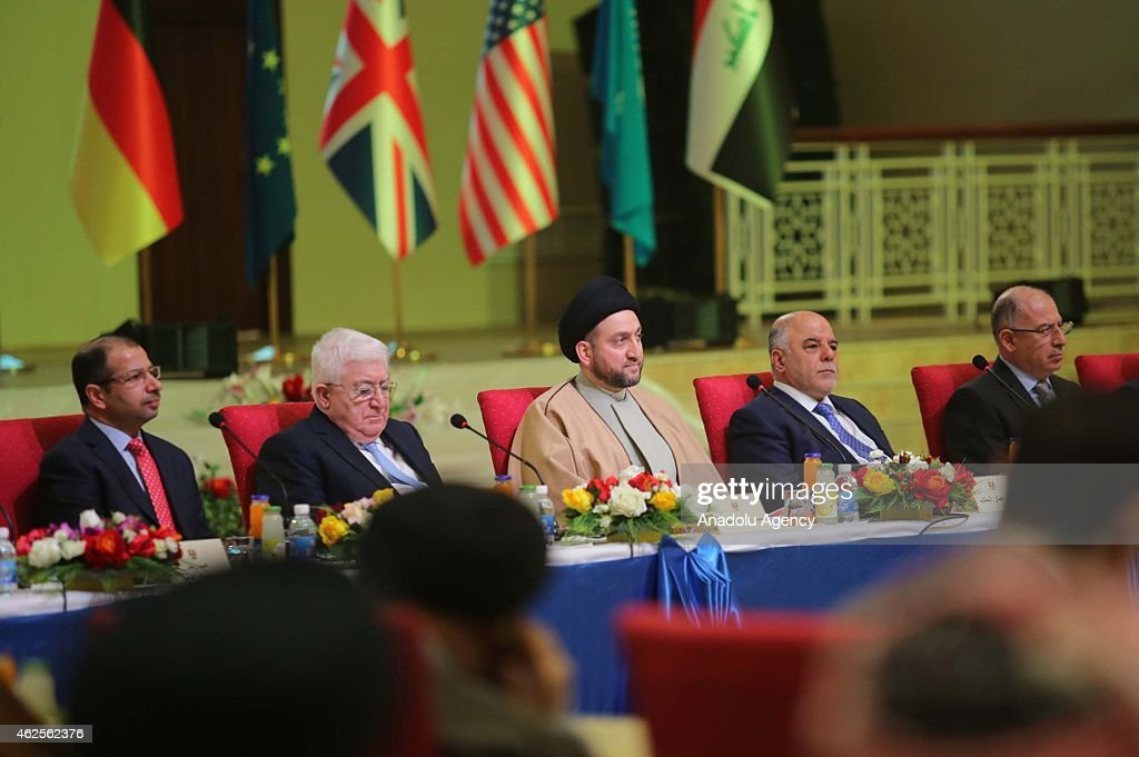 Iraqi Parliament Speaker Selim el-Cuburi (L) <a gi-track='captionPersonalityLinkClicked' href=/galleries/search?phrase=Ammar+al-Hakim&family=editorial&specificpeople=881718 ng-click='$event.stopPropagation()'>Ammar al-Hakim</a> (C), President of the Islamic Supreme, Iraqi president <a gi-track='captionPersonalityLinkClicked' href=/galleries/search?phrase=Fuad+Masum&family=editorial&specificpeople=13415208 ng-click='$event.stopPropagation()'>Fuad Masum</a> (2nd L), Iraqi Prime minister, Haider al-Abadi (2nd R) and Iraqi Vice President Usame Nuceyfi attend the interfaith dialogue panel at the Islamic Supreme council headquarters in Baghdad, Iraq on January 31, 2015.