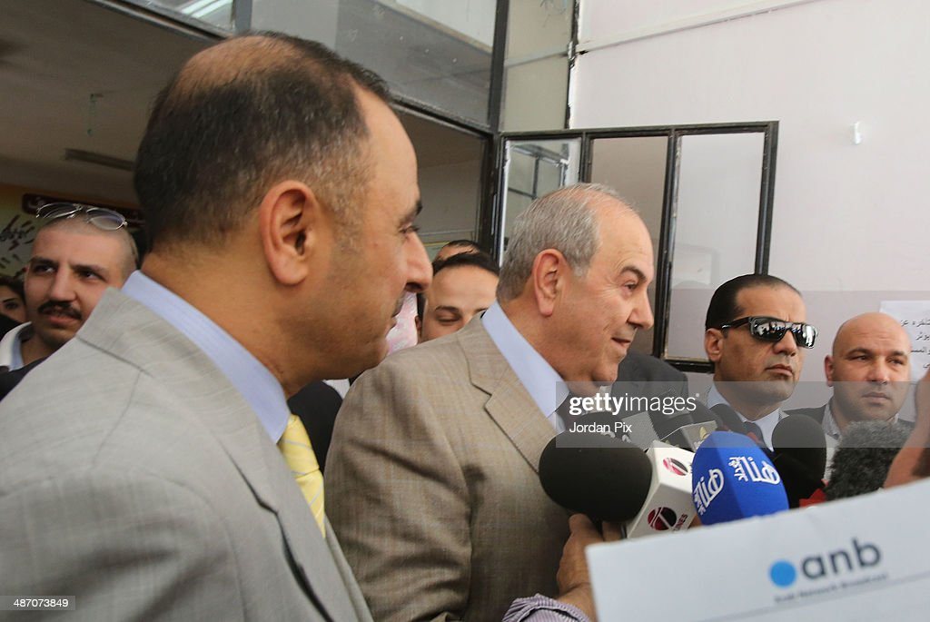 Iraqi politician <a gi-track='captionPersonalityLinkClicked' href=/galleries/search?phrase=Ayad+Allawi&family=editorial&specificpeople=210652 ng-click='$event.stopPropagation()'>Ayad Allawi</a> speaks to the press after voting in the Iraqi parliamentary elections at a polling station April 27, 2014 in Amman, Jordan. Iraq's former prime minister <a gi-track='captionPersonalityLinkClicked' href=/galleries/search?phrase=Ayad+Allawi&family=editorial&specificpeople=210652 ng-click='$event.stopPropagation()'>Ayad Allawi</a> on Sunday described the atmosphere as 'unfair' in which his country's current legislative elections take place.