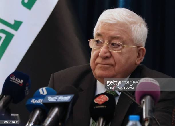 Iraqi President Fuad Masum speaks during press conference in the Jordanian capital Amman on May 19 2017 / AFP PHOTO / KHALIL MAZRAAWI