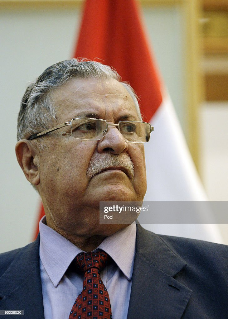 Iraqi President <a gi-track='captionPersonalityLinkClicked' href=/galleries/search?phrase=Jalal+Talabani&family=editorial&specificpeople=213582 ng-click='$event.stopPropagation()'>Jalal Talabani</a>, looks on during a press conference with U.S. Vice President Joe Biden January 23, 2010 in Baghdad, Iraq. Vice President Joe Biden is holding talks with Iraqi leaders amid growing tensions over plans to ban election candidates because of suspected links to Saddam Hussein's regime.