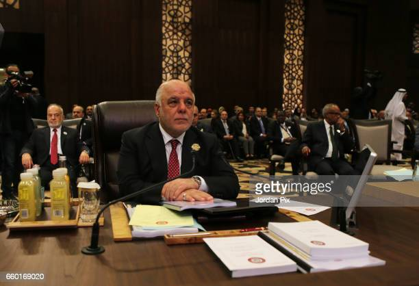 Iraqi prime minister Haidar AlAbadi attends during the Arab League summit in the Jordanian Dead Sea resort of Sweymah Jordan March 29 2017 Arab...