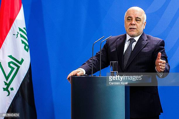 Iraqi Prime Minister Haider AlAbadi attends a press conference with German Chancellor Angela Merkel following talks at the Chancellery on February 6...