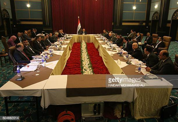 Iraqi Prime Minister Haider alAbadi holds a cabinet meeting on general services for the poor and security in the southern Iraqi city of Basra on...