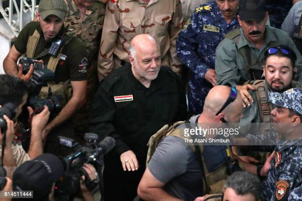 Iraqi Prime Minister Haider alAbadi is seen after retaken Mosul on July 9 2017 in Mosul Iraq