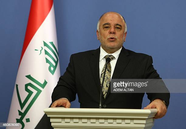 Iraqi Prime Minister Haider alAbadi speaks duing a press conference with Turkey's Prime Minister in Ankara on December 25 2014 AFP PHOTO / ADEM ALTAN