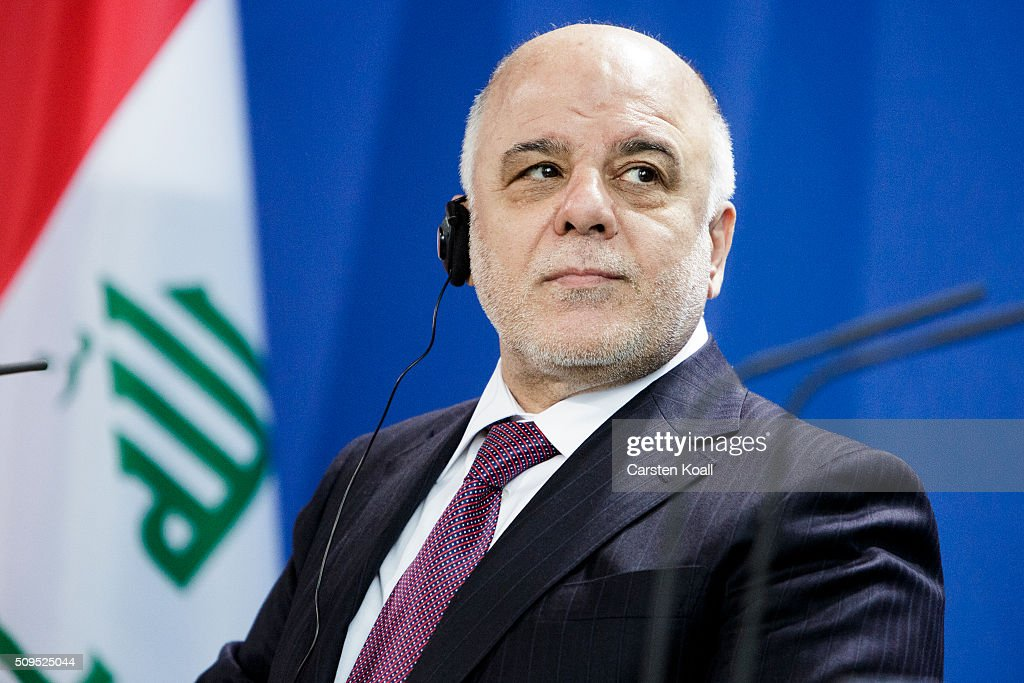 Iraqi Prime Minister Haider al-Abadi speaks together with German Chancellor Angela Merkel to the media following talks at the Chancellery on February 11, 2016 in Berlin, Germany. The two leaders discussed, among other issues, the security situation in Iraq as well as the recent influx of large numbers of migrants and refugees from Iraq into Germany.