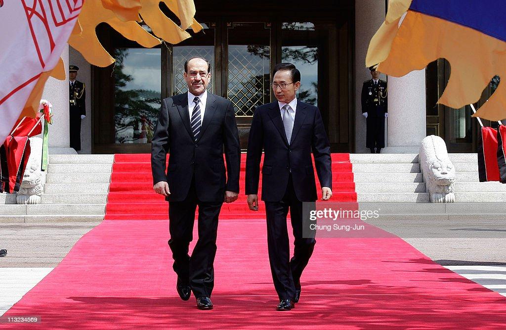 Iraqi Prime Minister Nouri al-Maliki Meets With South Korean President Lee Myung-Bak