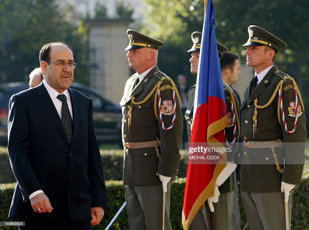 Iraqi Prime Minister Nouri al-Maliki reviews a guard of honour during a welcoming ceremony at the government headquarter on October 11, 2012 in Prague. Czech Prime Minister Petr Necas welecomed the Iraqi leader to the Czech capital.