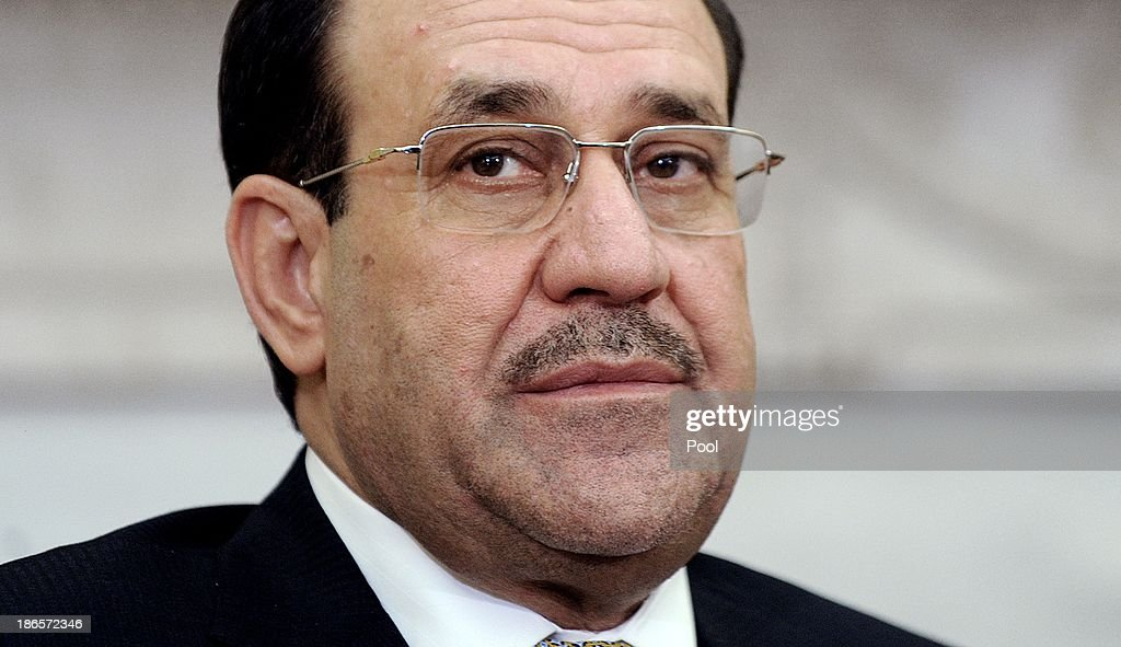 Iraqi Prime Minister Nouri Al-Maliki speaks during a meeting with U.S. President Barack Obama in the Oval Office at the White House November 1, 2013 in Washington, DC. Al-Maliki was expected to request additional U.S. assistance in battling a rising wave of violence in Iraq.