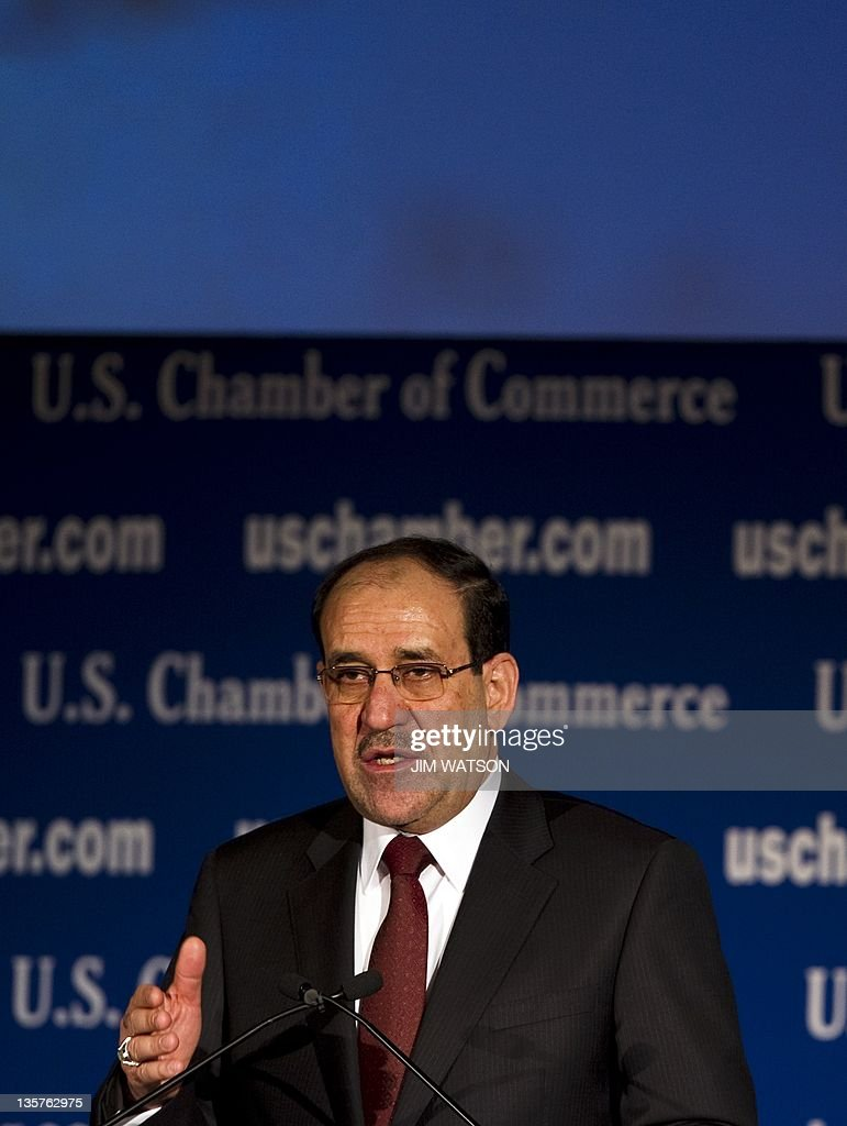 Iraqi Prime Minister Nouri al-Maliki speaks during a US/Iraq Initiative luncheon at the US Chamber of Commerce in Washington, DC, December 13, 2011. AFP PHOTO/Jim WATSON