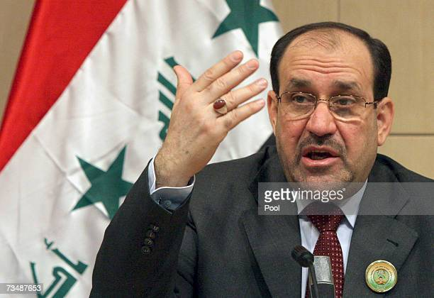 Iraqi Prime Minister Nouri alMaliki talks during a press briefing at the National reconciliation conference of the former Iraqi army officers March 4...