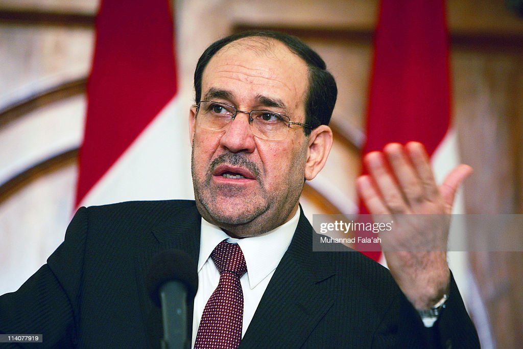 Iraqi Prime Minister Nuri al-Maliki speaks during a press conference on May 11, 2011 at the green zone area in Baghdad, Iraq. Al-Maliki has suggested that Iraqi main political blocks would discuss this month whether American troops should stay beyond a year-end deadline.