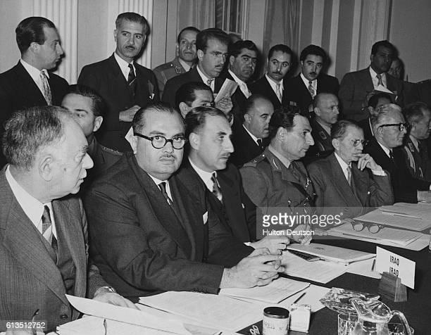 Iraqi Prime Minister Nuri Said Pasha Foreign Minister Burhan EdDin Bashayan Undersecretary of the Foreign Office Yusuf Gailana General Rafiq Arif of...