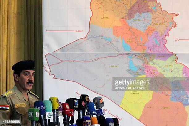 Iraqi Prime Minister's security spokesman Lieutenant General Qassem Atta speaks during a press conference about the latest military development in...