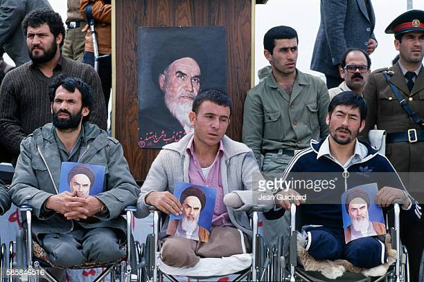 Iraqi prisoners are put on show before the media and Iranian General Zahir Nehzad by members of the Iranian army Also present at the gathering are...