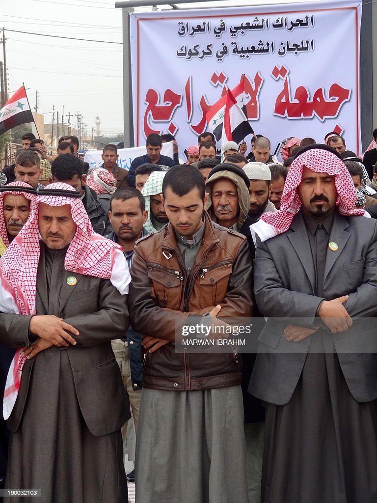 Iraqi protesters gather for Friday prayer during a demonstration in Kirkuk, north of Baghdad on January 25, 2013. The protests, all of which have taken place in Sunni majority areas, have hardened opposition against Shiite Prime Minister Nuri al-Maliki and come amid a political crisis less than three months ahead of key provincial elections.