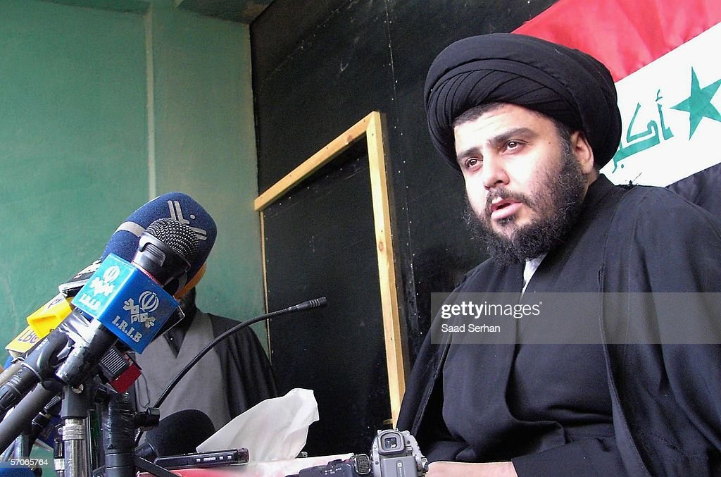 Iraqi radical Shiite cleric Moqtada al-Sadr speaks to reporters during a press conference on March 13, 2006 in the city of Najaf 100 miles south of Baghdad, Iraq. The press conference comes in the wake of a series of car bomb explosions that rocked two busy marketplaces in the Shiite neighborhood of Sadr city in eastern Baghdad. More than 40 people were killed and many more were wounded. (Photo by Saad Serhan/Getty Images).