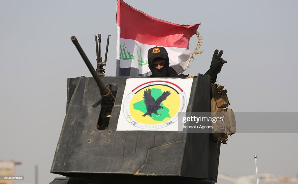 Iraqi security forces' convoy move on the road toward the centrum of Fellujah during an operation, has been staged to regain the city from Daesh terrorists in Fellujah, Iraq on May 28, 2016.