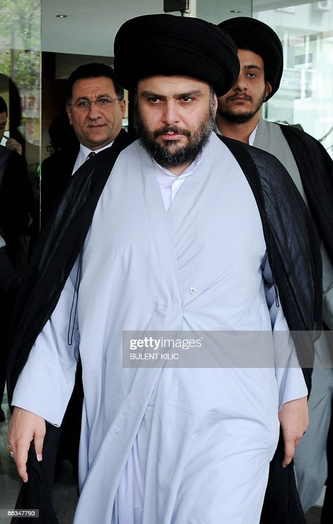 Iraqi Shi'ite cleric Moqtada al-Sadr leaves the Armada Hotel after his meeting in Istanbul, on May 2, 2009. Iraq's Shiite radical leader Moqtada al-Sadr, who has not been seen in public for nearly two years, travelled from Iran to Turkey to discuss his country's future.AFP PHOTO/BULENT KILIC