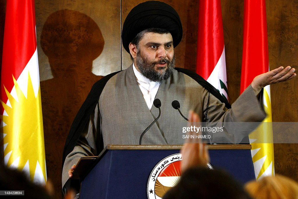 Iraqi Shiite cleric Moqtada al-Sadr speaks during a press conference in the northern Iraqi Kurdish city of Arbil during a visit to Iraq's autonomous Kurdistan region in what his spokesman said was a bid to resolve a crisis between the region and Baghdad on April 26, 2012. AFP PHOTO/SAFIN HAMED