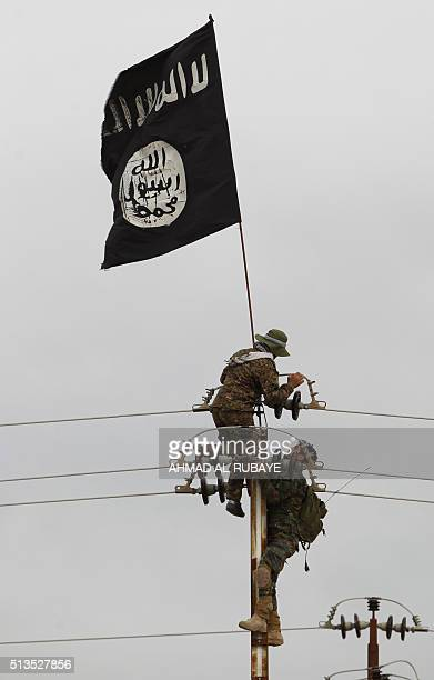Iraqi Shiite fighters from the Popular Mobilisation units take off an Islamic State group flag from an electricity pole on March 3 during an...