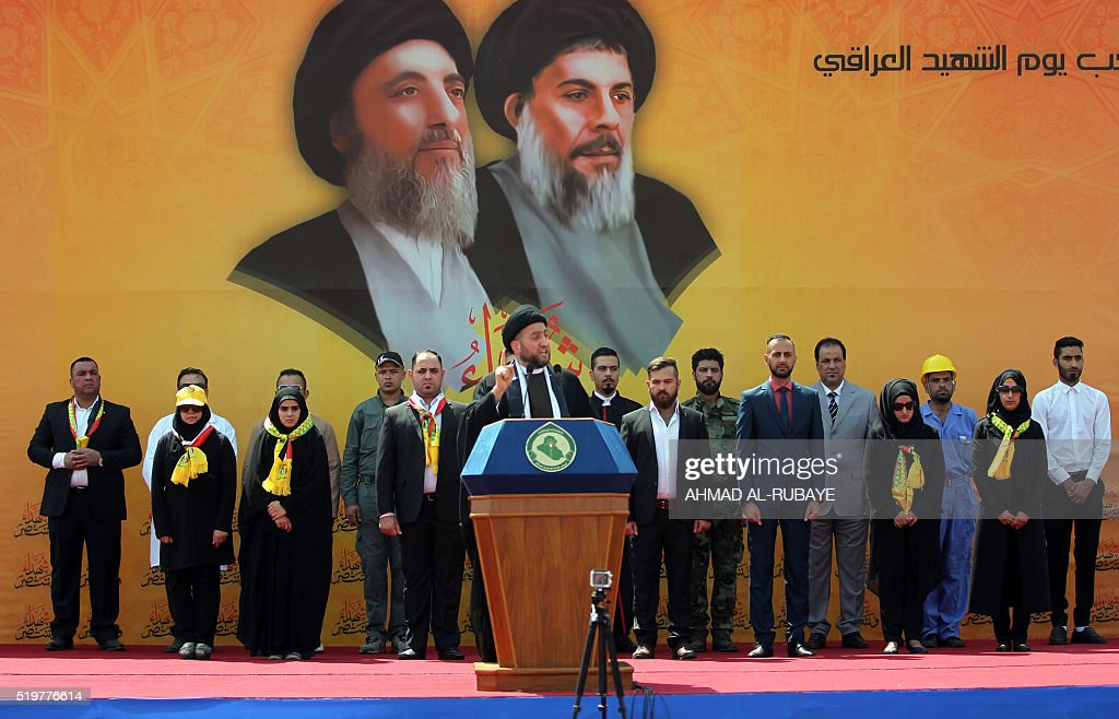 Iraqi Shiite Muslim leader Ammar alHakim head of the Islamic Supreme Council of Iraq gives a speech during a rallye commemorating his uncle Shiite...