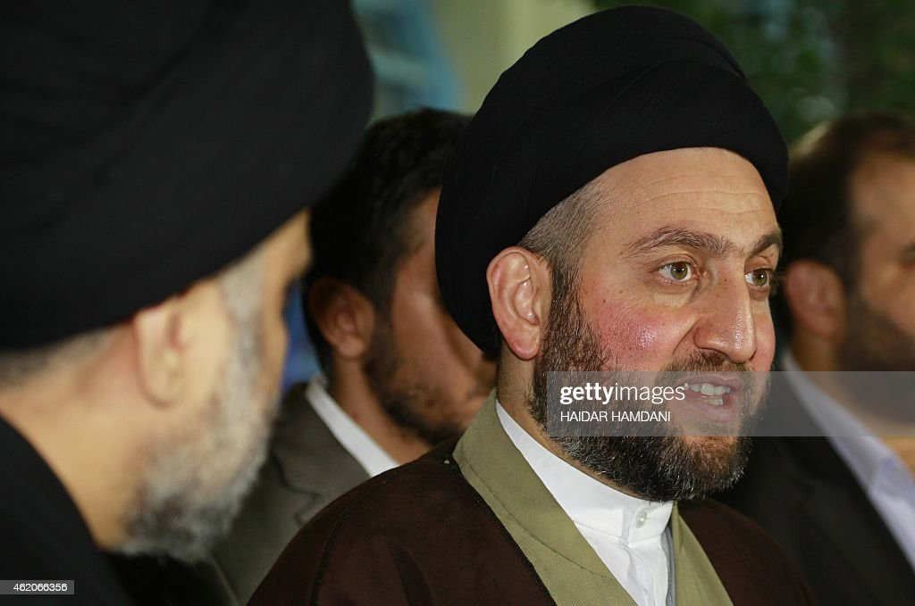 Iraqi Shiite Muslim leader Ammar alHakim speaks during a meeting held at his house in the southern Shiite city of Najaf on January 23 2015 with Iraqi...