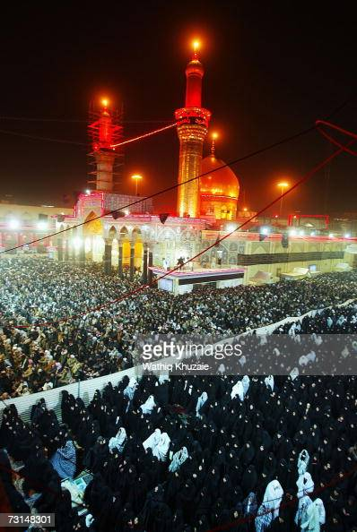 Iraqi Shi'ite Muslims celebrate the day of Ashura the anniversary of the death of Imam Hussein grandson of Prophet Muhammad on January 30 2007 in...