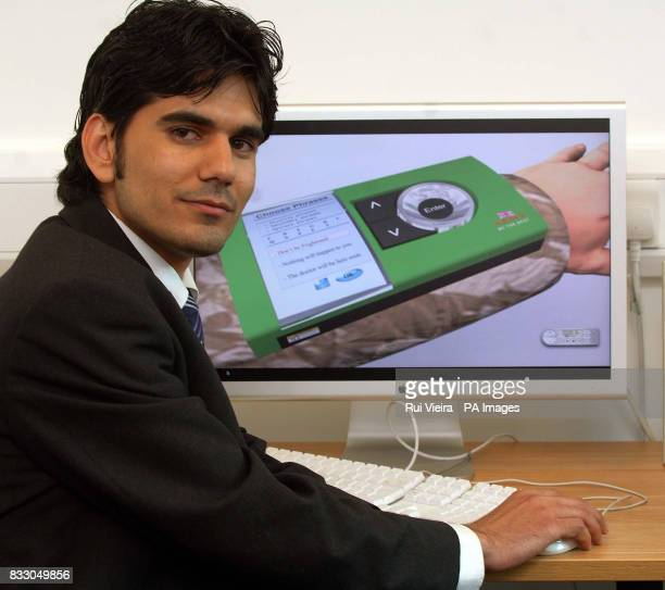 Iraqi student Amin Ismail at the University of Derby where he unveiled his final project a translation device worn like a wristwatch which he hopes...