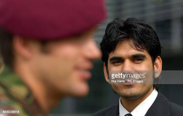 Iraqi student Amin Ismail at the University of Derby where he unveiled his final project to soldiers a translation device worn like a wristwatch...