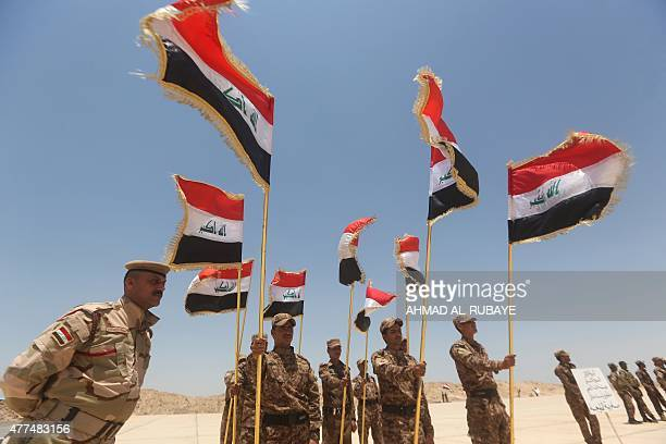 Iraqi Sunni volunteers from the Anbar province who joined Iraq's Popular Mobilisation force as part of government efforts to make the fight against...