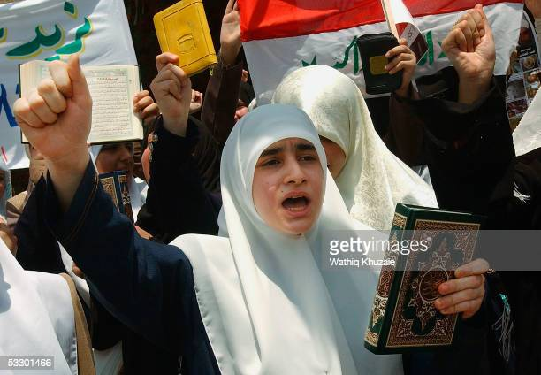 Iraqi Sunni women chant anti Iraqi security forces slogans during a demonstration organized by the Islamic party a main Sunni political party on July...