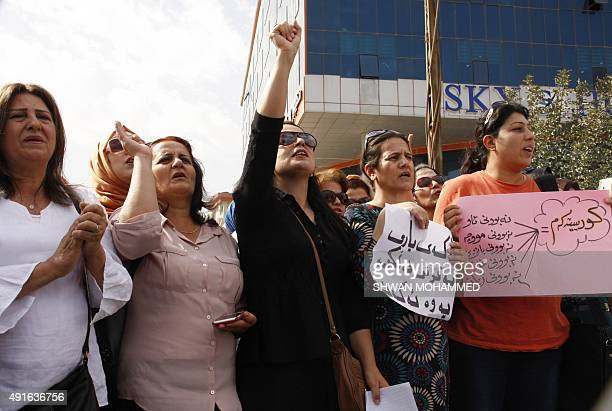 Iraqi teachers and civil servants protest on October 7 2015 in Sulaimaniyah in Iraq's Kurdistan region as they have not been paid for three months...
