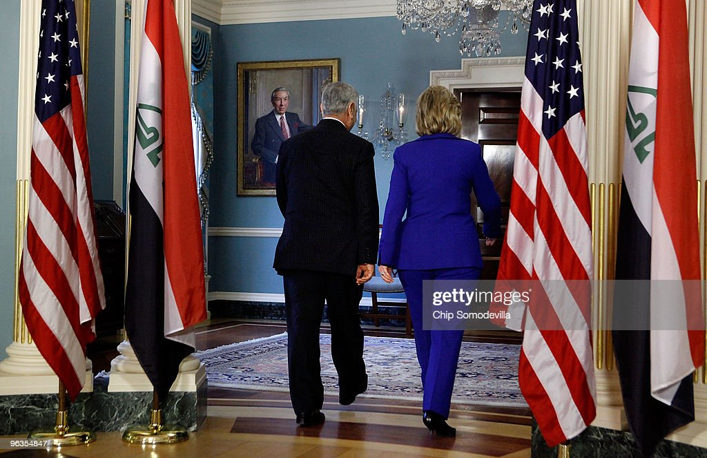 Iraqi Vice President Dr. Tariq Hashimi (L) and U.S. Secretary of State <a gi-track='captionPersonalityLinkClicked' href=/galleries/search?phrase=Hillary+Clinton&family=editorial&specificpeople=76480 ng-click='$event.stopPropagation()'>Hillary Clinton</a> leave after a photo opportunity at the State Department February 2, 2010 in Washington, DC. Hashimi met earlier with President Barack Obama and Vice President Joe Biden and they discussed Iraq's upcoming general elections scheduled for March and the United States planned withdrawal in 2011.