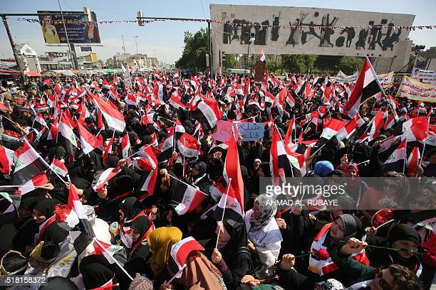 Iraqi women supporters of Shiite cleric Moqtada alSadr take part in a protest outside Baghdad's fortified 'Green Zone' on March 2016 calling on the...