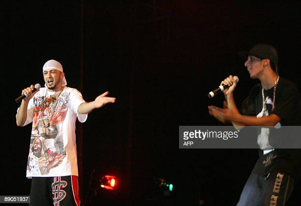 Iraqi youth Saif Nabil raps on stage with his group DKZ at the national theatre in central Baghdad on July 10 2009 Around 150 fans attended the first...