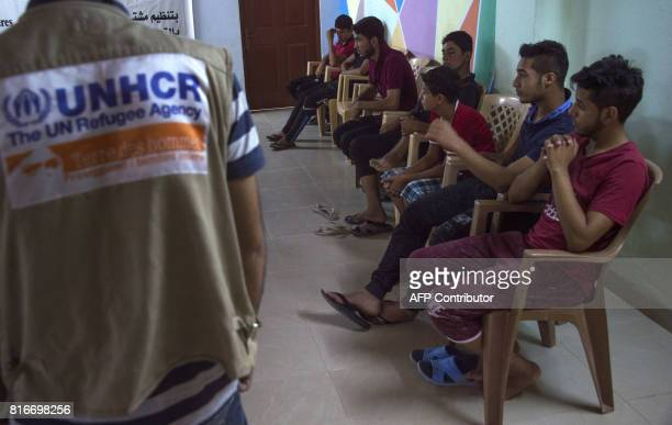 Iraqi youth who were separated from their families during the fighting between Iraqi forces and Islamic State group jihadists around the city of...