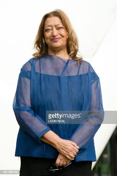 IraqiBritish architect Zaha Hadid poses for pictures outside her recently completed design for an extension of the Serpentine Sackler Gallery in...