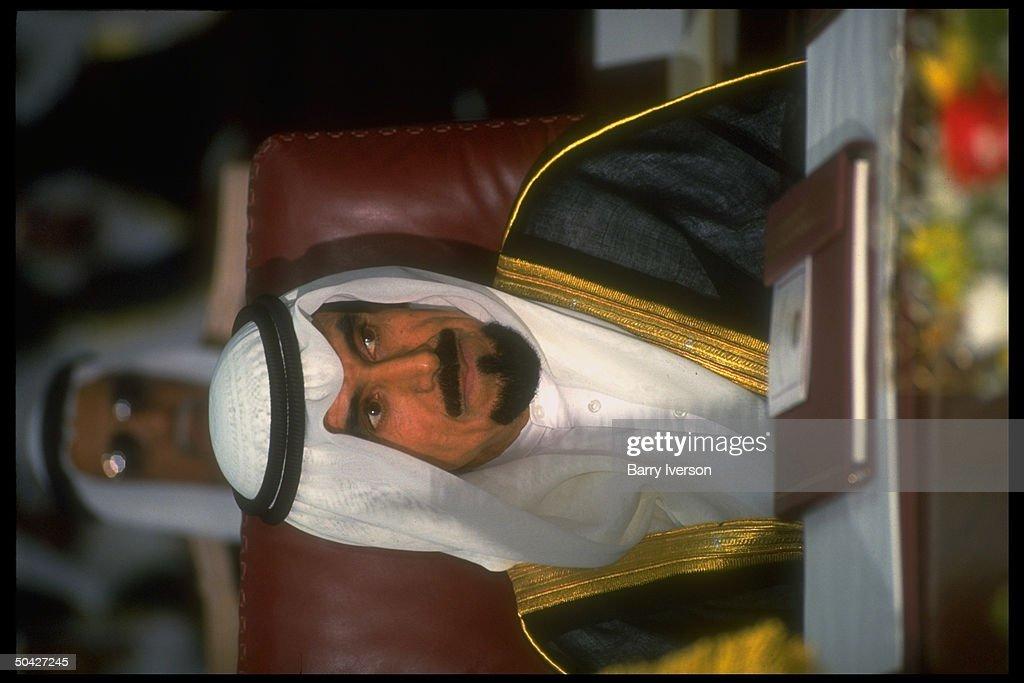Iraqiinvasionexiled Kuwaiti Emir Sheikh Jaber during Gulf Cooperation Council 11th annual summit overshadowed by gulf crisis