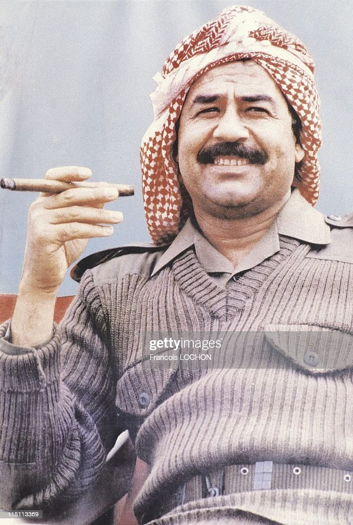 Iraq-Iran war, recovery of the Kermand mount in Iraq on July 31, 1983 - Saddam Hussein with a cigar.