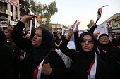 Iraqis demonstrate on July 10 2016 at the site of the suicidebombing in Baghdad's Karrada district against the Iraqi government and demanding the...