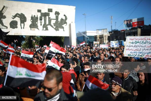 CORRECTION Iraqis mostly supporters of prominent cleric Moqtada Sadr gather on February 17 2017 in central Baghdad during a silent protest The rally...